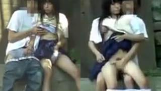野外で高校生カップルがセックスしてるエッチを盗撮したJK動画