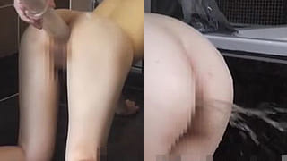 彼女に浣腸して水とウンコを噴射した素人の個人撮影スカトロ動画